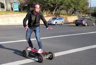 man riding scateboard