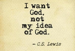 I want God, not my idea of God.