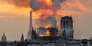Notre Dame on Fire Paris